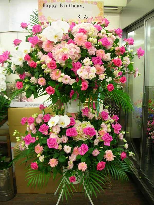 キャバクラスタンド花ピンク系バラ仙台市