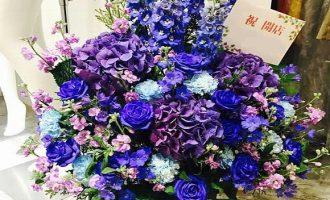 ブルー・パープル系 お祝いのアレンジフラワー博多